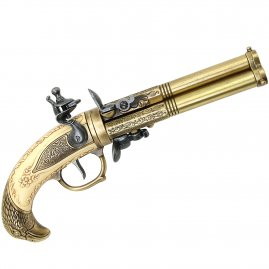 Three Barrel Revolving Flintlock Pistol, year 1775