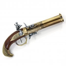 Tri-barrelled Flintlock Revolver with Eagle's head on the handle