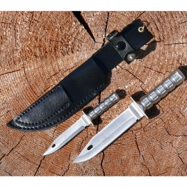 Mini Survivalmesser - two knives knife in one scabbard with key ring