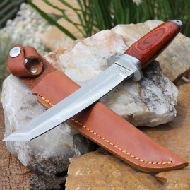 Solid Tanto knive with Pakka wood coating