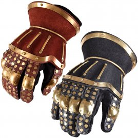 Hourglass Gauntlets, red/gold