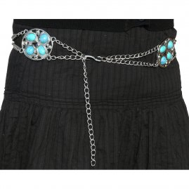 Chain belt with 3 decorative buckles with turquoise stones