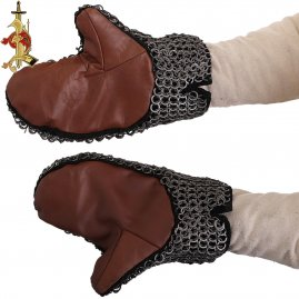Padded Chainmail Mittens With Leather Grips