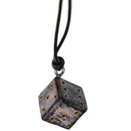 Wooden Dice Pendant With Adjustable Leather Cord