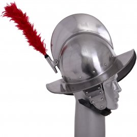 Morion Helm with Red Plume of feathers