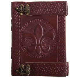 Leather-Bound Journal with Fleur-de-Lis Stamping