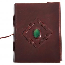 Leather-Bound Journal with Inset Stone