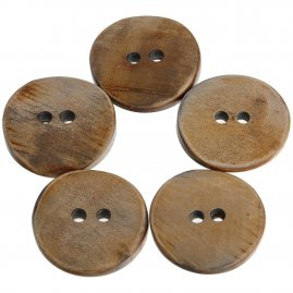 Round Horn Buttons, set of 5 pcs