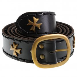 Medieval crusader belt with brass crosses
