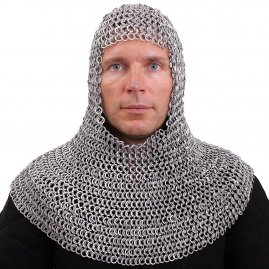Aluminum Chainmail Coif made of riveted round rings alternating with flat solid rings