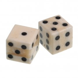 Pair of Bone Dice with inlaid pips