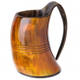 Hand-carved Viking drinking horn mug tankard
