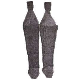 Chain mail Leggings made of riveted flat rings alternated with solid rings