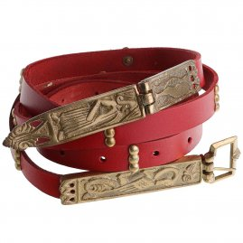 Medieval Leather Belt with Brass Buckle and Hinged End