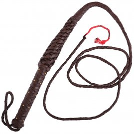 Leather Whip with Brass Rivets Brown 246 cm