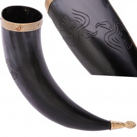 Drinking Horn Odin´s Ravens with Crocodile Brass tip & Rim