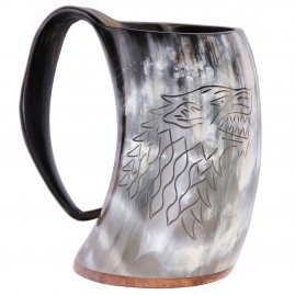 House Stark Sigil Hand Engraved Game of Thrones Drinking Horn Tankard