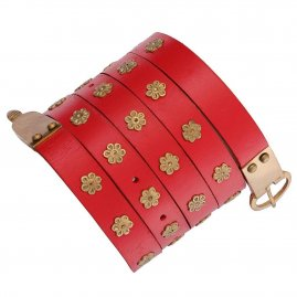 Leather Medieval Long Belt with Brass Riveted Floral Rosettes