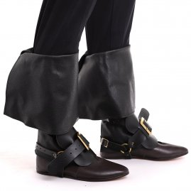 Leather Boot Toppers with Buckles