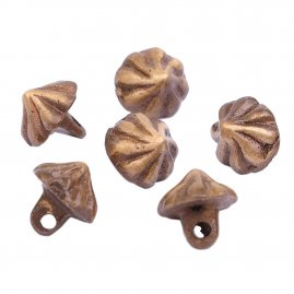 Brass cone knobs with antiques finish, 6 pcs