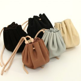Leather pouches, 5 pieces