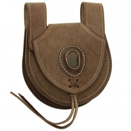 Leather bag decorated with stone