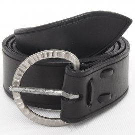 Leather belt with a hand-hammered wrought buckle