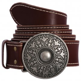 Gothic leather belt with a sumptuously decorated buckle