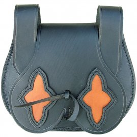 Leather belt pouch decorated with two stars