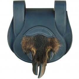 Leather bag with a boar's cloven hoof