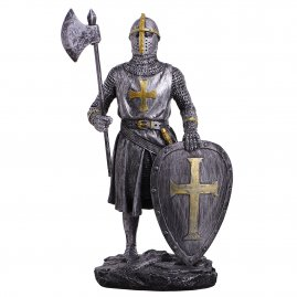 Figure crusader with axe and shield 18cm