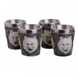 Shot glasses with snow wolf 50ml, 4 pieces