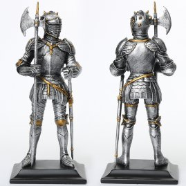 Resin Statue Knight with halberd and sword