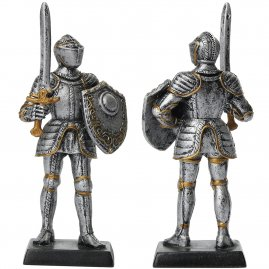 Figure of an armored knight in armet with sword and buckeled shield