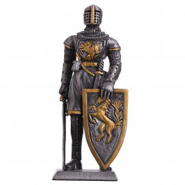 Toy Tin Soldier Medieval Knight with escutcheon on a horse 105mm