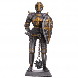 Toy Tin Soldier Medieval Knight with mace and French lily on the cuirass 105mm