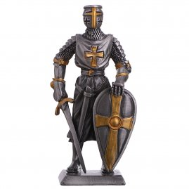 Toy Tin Soldier Medieval Knight Templar with sword and shield 110mm