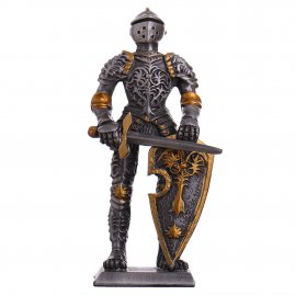 Toy Tin Soldier Medieval Knight in tournament armor with floral decor 105mm