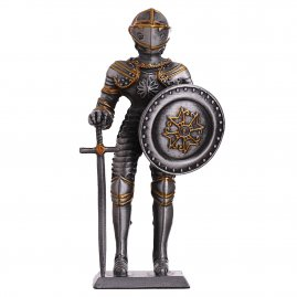 Armor Toy Tin Soldier Medieval Knight with round shield and sword 105mm