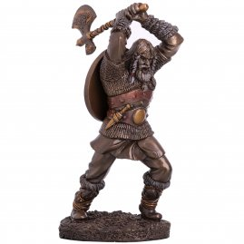 Resin model figure of an axe-striking Viking