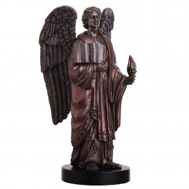 Angel figure Archangel Uriel with holy scripture and flame of hope 20cm