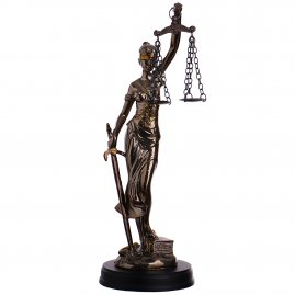 Figure Lady of Justice, goddess of justice, bronzed sculpture 25cm
