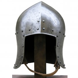 Itailan Bascinet helmet with patina finish