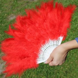 Hand fan from genuine feathers