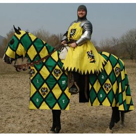 Horse trapper, knight tabbard with banner