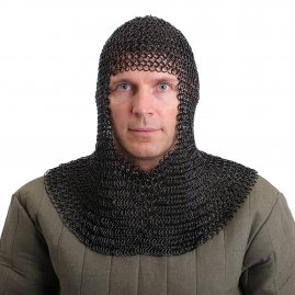 Blackened Chain Mail Armor Coif