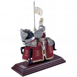 Mounted French Knight of King Arthur with red caparison