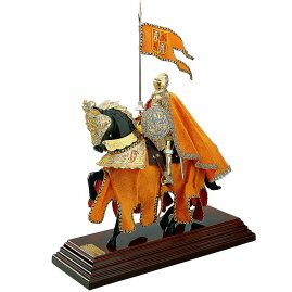 Resin Statue of a Knight on horseback, EQUESTRIAN ARMOR YELLOW