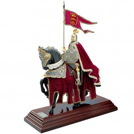 Resin Statue Knight on horseback, EQUESTRIAN ARMOR RED