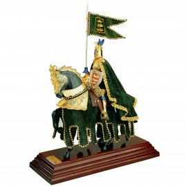 Resin Statue of Knight on horseback, green